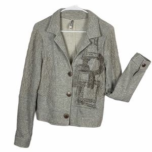 Monoreno lace trim heather gray jacket medium